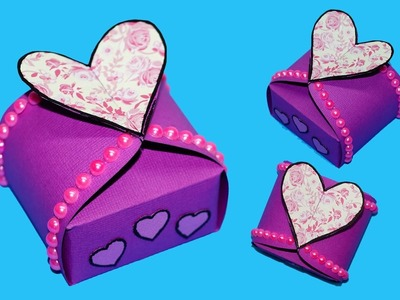 DIY paper crafts idea - Gift box sealed with hearts - gift heart box making ideas. Julia DIY