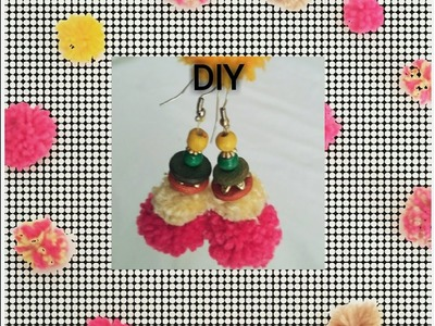 DIY pompom earrings.Recycle old woolen.Viewer's choice