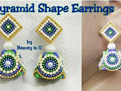 DIY | Pyramid shaped Designer Silk Thread Earrings making at Home | Tutorial