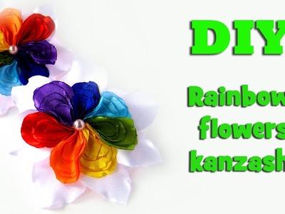 DIY rainbow flower. Kanzashi tutorial