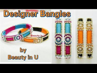 DIY | Simple Designer Silk Thread Bangles making at Home | Tutorial
