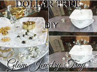 DOLLAR TREE DIY GLAM 3 TIERED VANITY JEWELRY TRAY ORGANIZER PETALISBLESS????