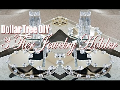 Dollar Tree DIY Tutorial 3 Tiered Mirrored Jewelry Holder.Organizer
