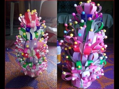 Flower pot using paper and thermocol balls DIY चार्ट पेपर और थर्मो काली गेंदों का उपयोग करके फूलदान