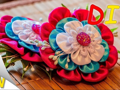 Hair clips with flowers from ribbons.Diy kanzashi flowers.Kanzashi tutorial.