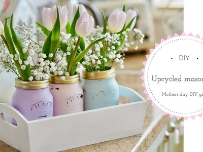 How to chalk paint Mason jars using pastel coloured chalk paint. Mothers day DIY.
