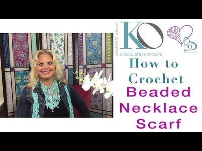 How to Crochet Beaded Lace Turquoise Necklace Scarf LEFT HAND