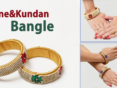 How to make bridal bangle using stones. gold drop chain. Silk thread bangles making
