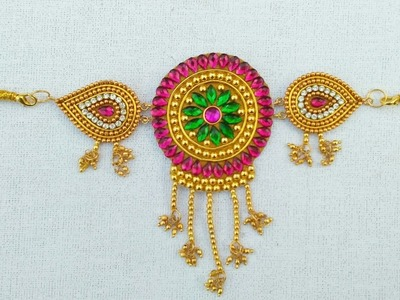How To Make Designer Armlet. DIY. Paper Jewellery Making.How To Make Vanki.Bajuband Designs