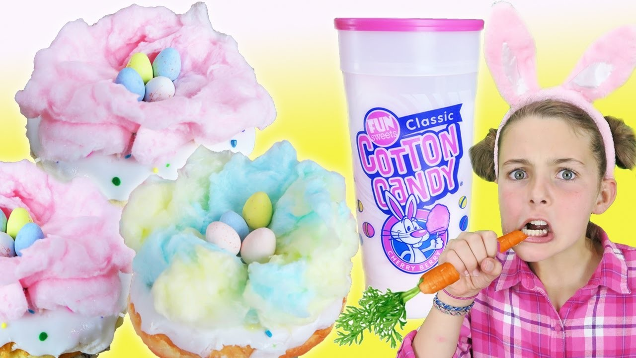 How To Make Easter Egg Cotton Candy Doughnut Nest | DIY Easter Treat Kids Cooking Princess Chef Ava
