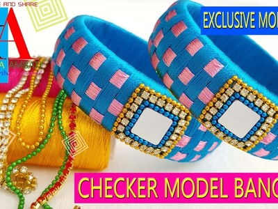 How to make silk thread fancy checker model bangles -  tutorial - DIY