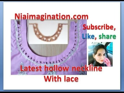 Latest sun neck line with hollow triangles and lace DIY in English