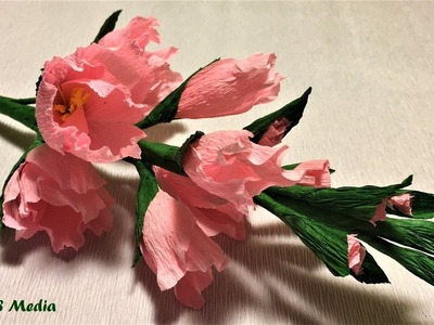 Making easy origami gladiolus paper flower step by step.diy crepe paper flowers folding.flower craft