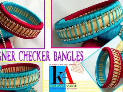 Making silk thread checker model bangles at home || DIY || Tutorials
