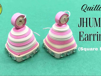 Quilling Jhumka (Bell) Earrings (Square base) - Design 11 - DIY Tutorial by Paper Folds