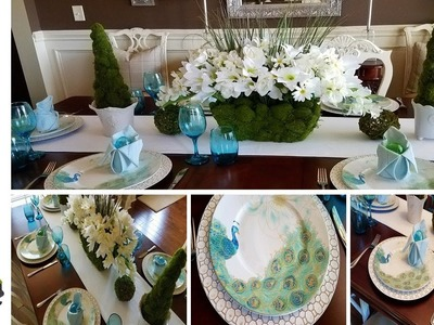 Spring.Easter Tablescape And Dollar Tree Moss Floral Pot Centerpiece DIY
