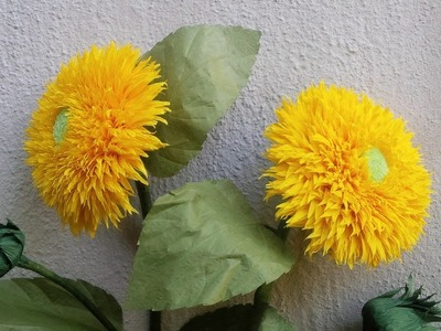 ABC TV | How To Make Sunflower Teddy Bear Paper Flowers From Crepe Paper - Craft Tutorial