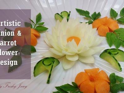 Artistic Onion & Carrot Flower Design - How To Make Carrot & Onion Flower Carving Garnish