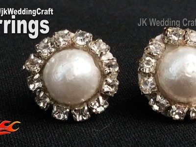 DIY Diamond and Pearl Stud Earrings | How to make wedding jewelry | JK Wedding Craft124