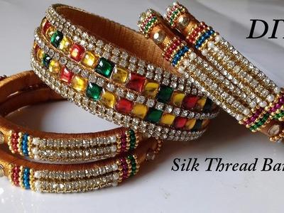 DIY || how to make bridal silk thread bangles at home || DIY silk thread bridal bangle