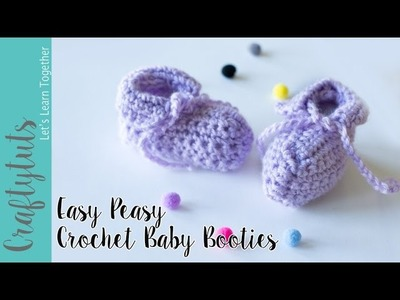 Easy Peasy Crochet Baby Booties Tutorial (with link to written pattern)