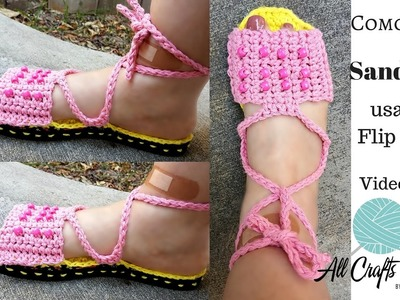 How to crochet sandals using Flip Flops ( Video 2 of 2)