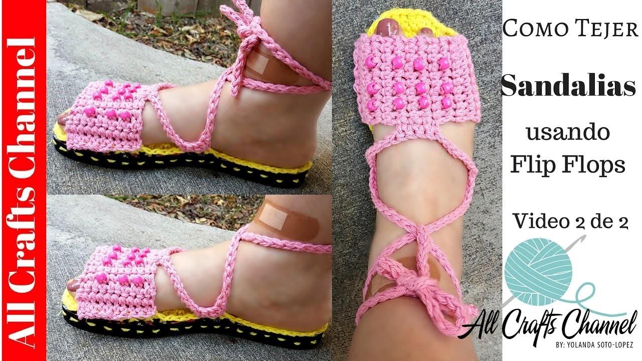 How to crochet sandals using Flip Flops ( Video 2 of 2)
