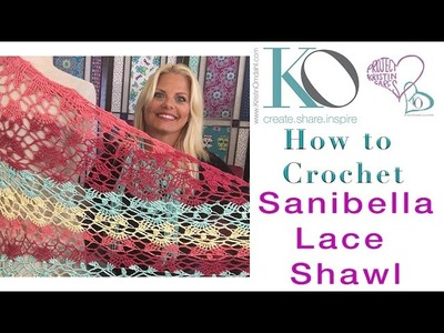 How to Crochet Sanibella Beaded Shawl Lace Top Down LEFT HAND Beginner Slow