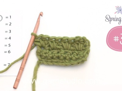 How to crochet some techniques that are used in 3rd clue in DROPS Mystery blanket Spring Lane