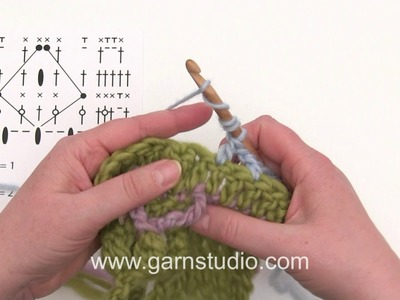How to crochet two techniques that are used in 5th clue in DROPS Mystery blanket Spring Lane