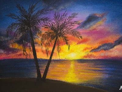 How to Draw Sunset Scenery with Soft Pastel | Soft Pastel Technique