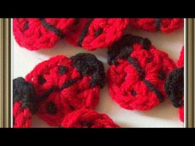How to make a crochet ladybug applique