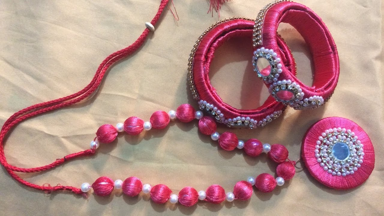 How to make a silk thread necklace at home | Silk thread pendant | Bridal necklace