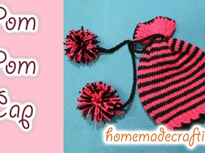 How to make a Woolen Pom Pom Cap. Knitting Cap - By Arti Singh