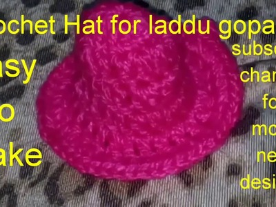 "How to make.Crochet.Hat.for.laddu gopal ji.in Hindi.""Hare Krishna ji"""