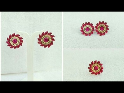 How To Make Paper Earrings. Paper Jewellery Making. Designer Earrings Making.Home Made Tutorial
