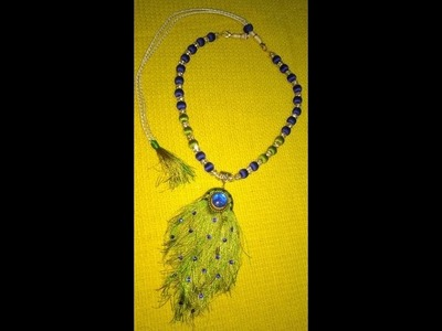 How to make peacock feather  necklace in silk thread