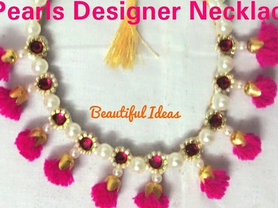 How to make Pearls Designer Necklace. Silk thread Pearls.Woolen thread Designer Necklace  at home.