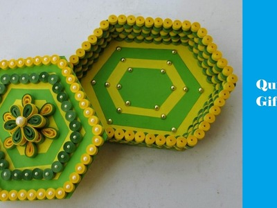 How to make Quilling Gift Box | Green-Yellow | DIY