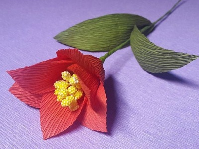 How to Make Red Paper flowers - Flower Making of Crepe Paper - Paper Flower Tutorial