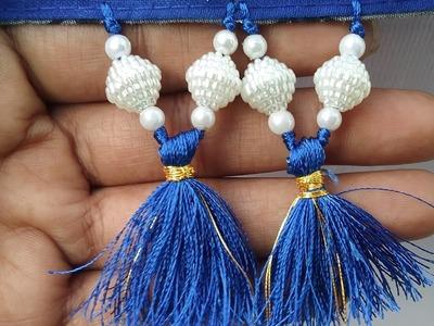 How to make saree kuchu.tassels l DIY l how to make pearl saree kuchu l saree kuchu design #22