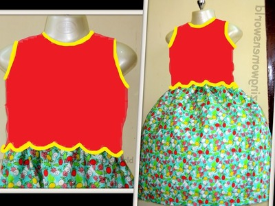 HOW TO MAKE SCALLOPED BODICE GATHER BABY  FROCK - STEP BY STEP - DIY  || AWW # 262 ||