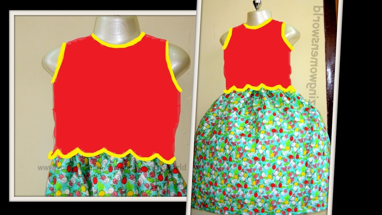 HOW TO MAKE SCALLOPED BODICE GATHER BABY  FROCK - STEP BY STEP - DIY     AWW # 262   