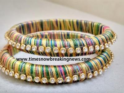 How to make silk thread bangles at home, silk thread bangles tutorial, indian silk thread bangles