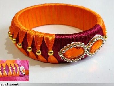 How to make SILK THREAD BANGLES at Home| Easy making bangle with silk thrad and Ribbons|Omni_trends