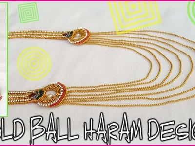 How to make silk thread bridal step chain at home | Gold ball haram design