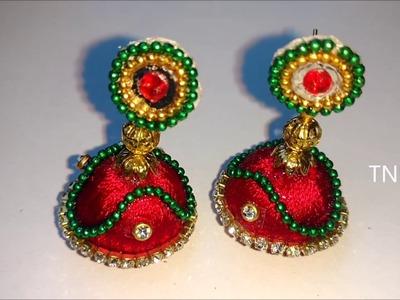 How to make silk thread earrings | silk thread jhumkas, silk thread earrings, simple life hacks, diy