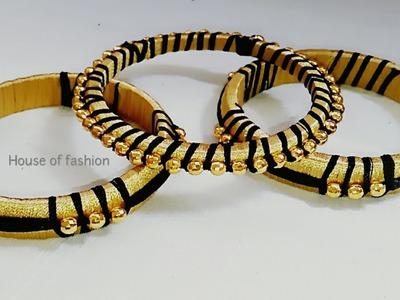 How To Make Silk Thread Bangles||Gold Bead Bangles