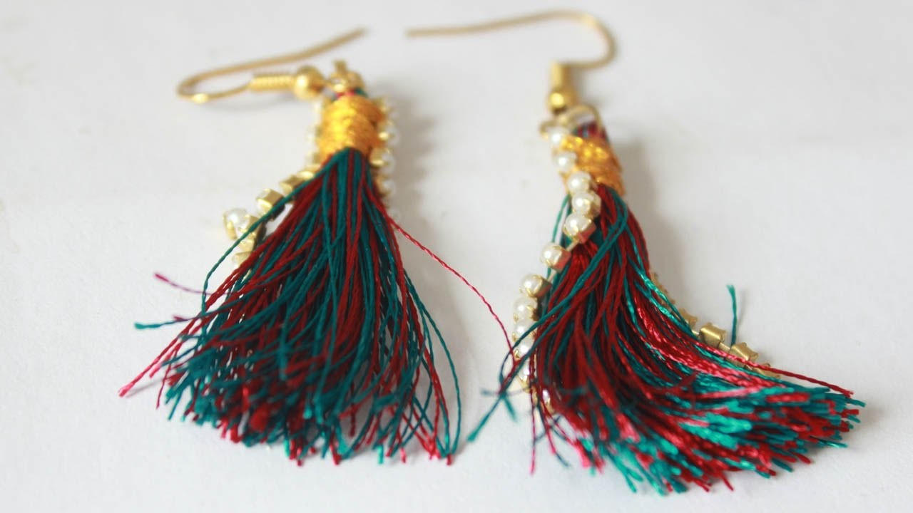 How to Make silk Thread Tassel Earrings at Home | Latest  Tassel Earrings