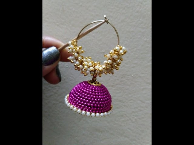 How to make Silk Thread with Jhumkas White Loreals at Home